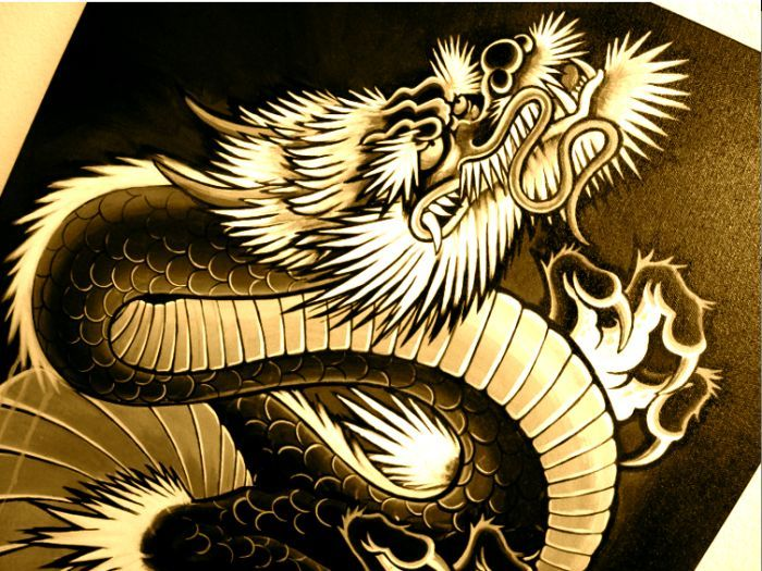 Japanese dragon painting tattoo art tribal dragons for Japanese dragon painting