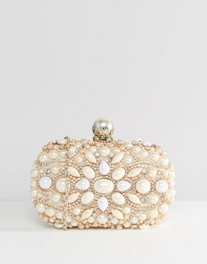 e3e8d6e7383 Vintage Looking. ALDO Beaded Box Clutch With Pearl Clutch Bag