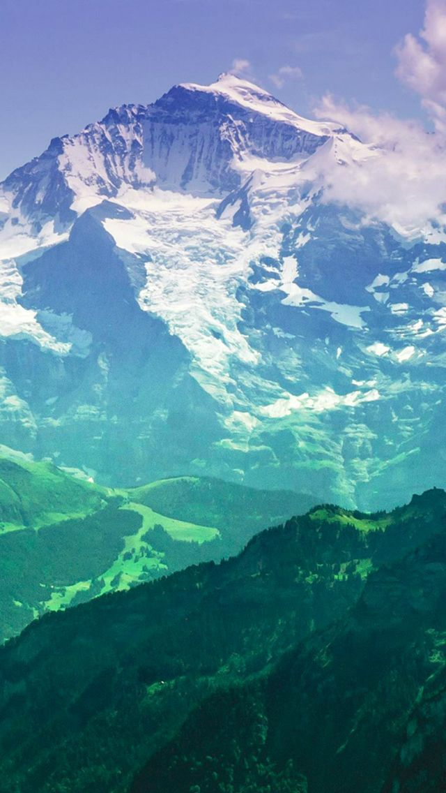 Nature Snowy Mountains Smoky Scenery Landscape Iphone 5s Wallpaper
