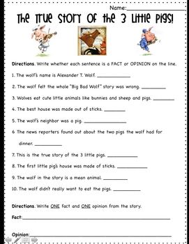 Fact And Opinion Using The True Story Of The Three Little