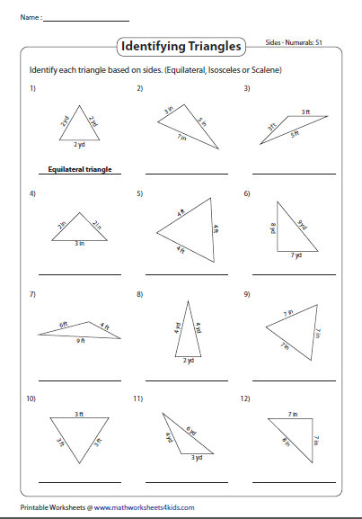 Classifying Triangles Based On Side Measures Classifying Triangles Triangle Worksheet Angles Worksheet
