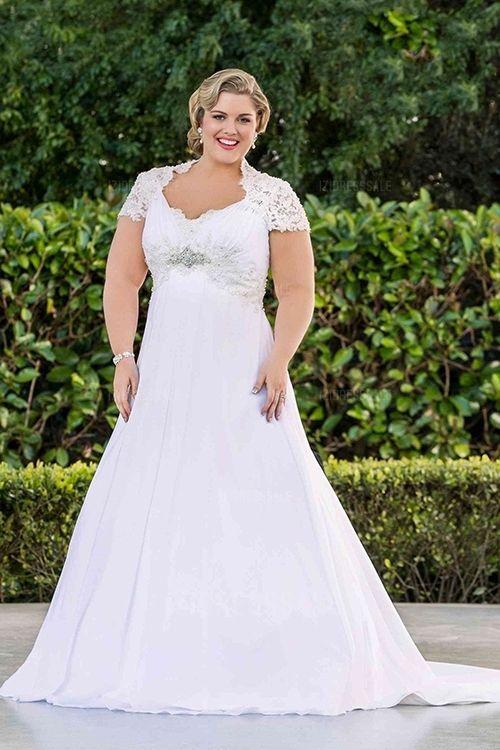 A-Line/Princess Sweetheart Court Train Chiffon Lace Wedding Dress ...