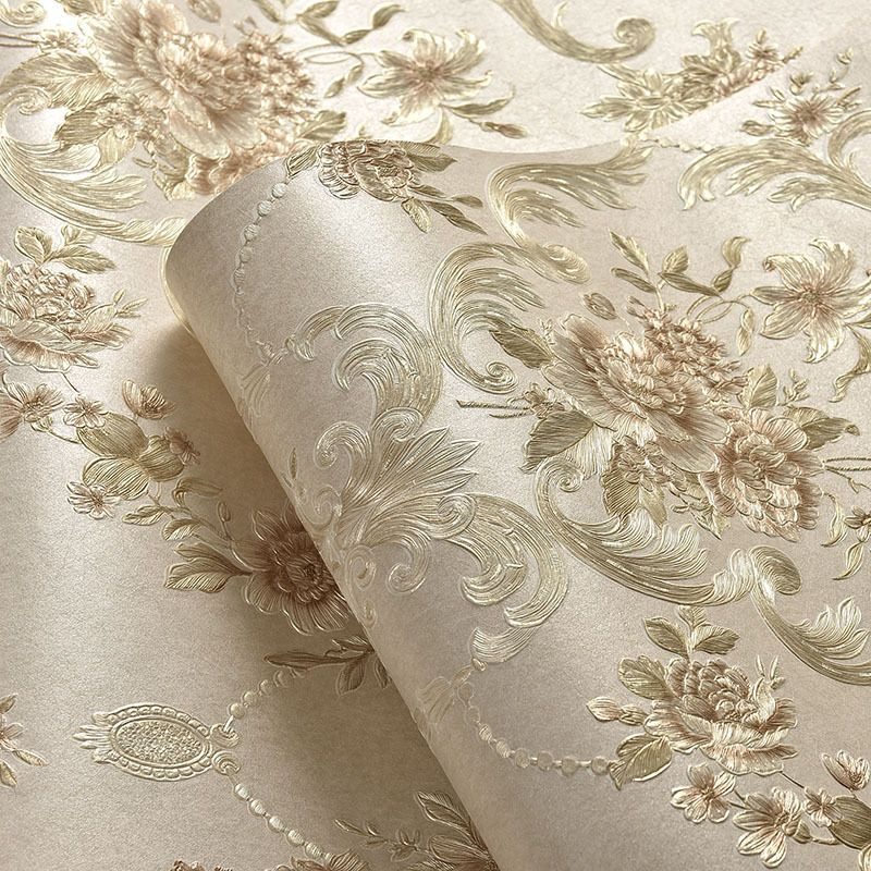 10M Wall Paper 3D Floral Nonwoven Embossed Textured