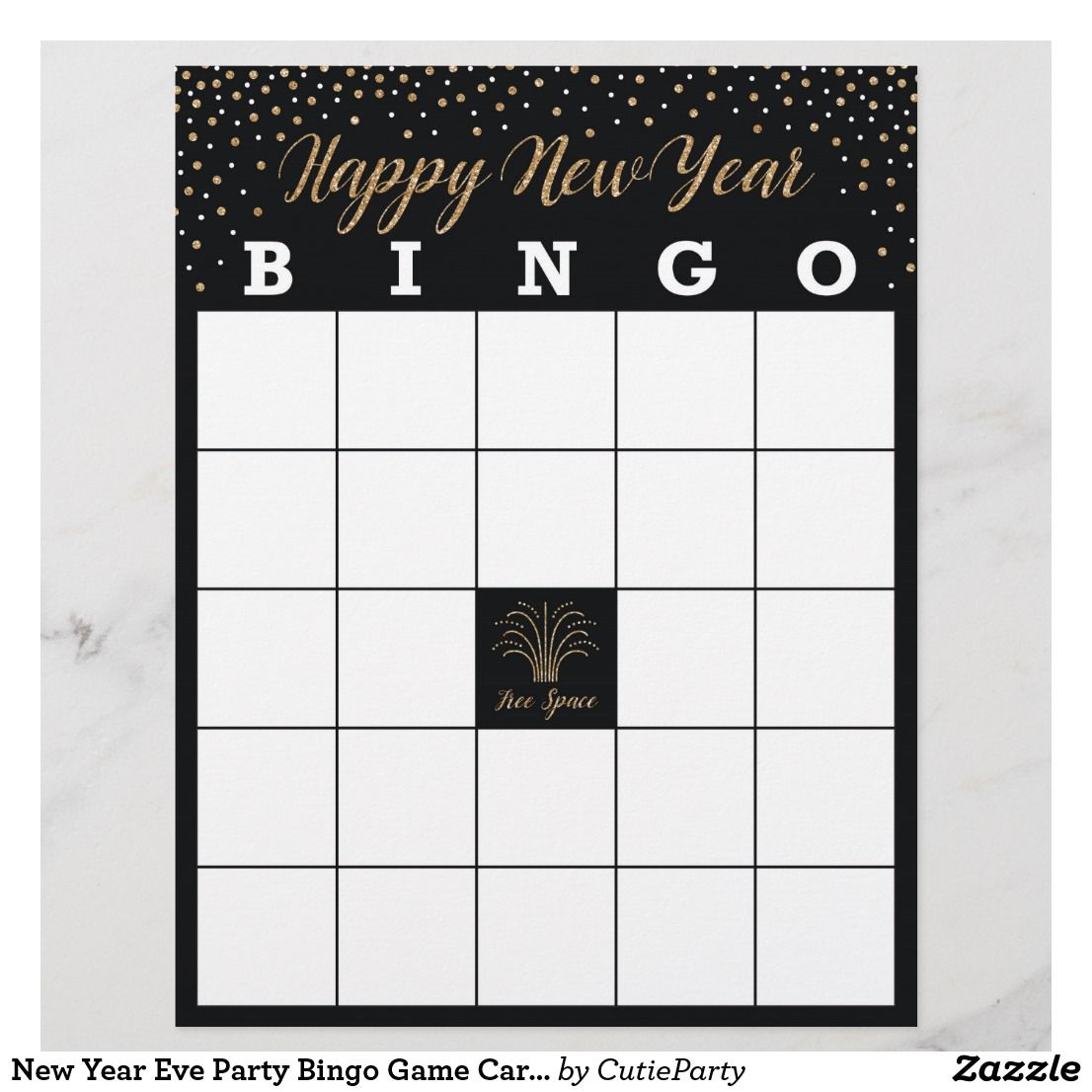 New Year Eve Party Bingo Game Cards New