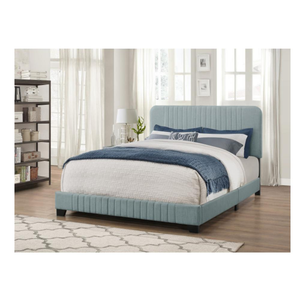 Pulaski Furniture All In One Blue King Bed With Channeled Headboard And Footboard In 2020 Upholstered Platform Bed Headboard Footboard Pulaski Furniture