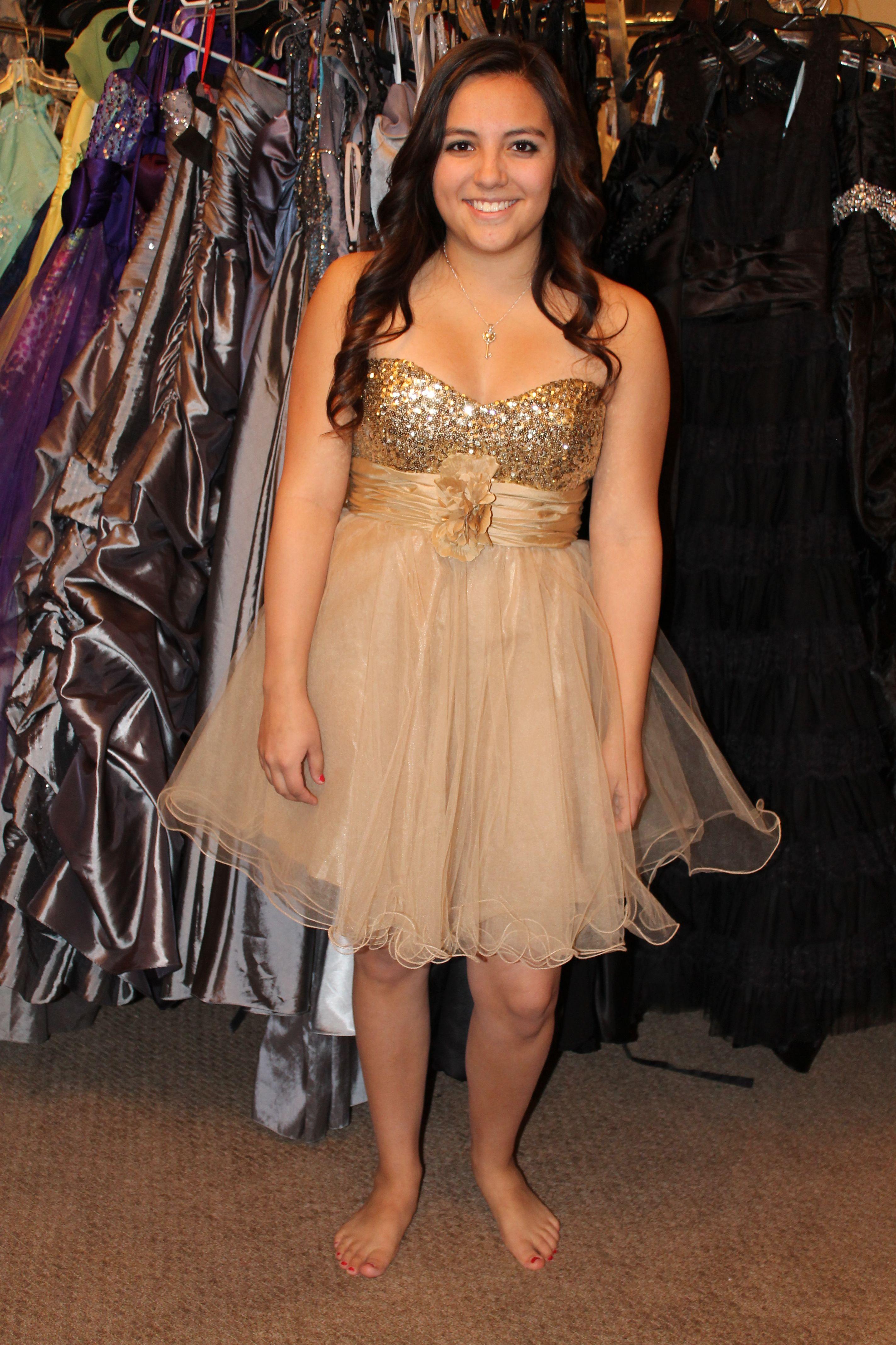 Short Gold Semi Formal Sweethearts Homecoming Or Prom Dress Available For Rent At Dazzling Dress Rentals In Riverton Ut 8 Dazzling Dress Dresses Dress Rental [ 4272 x 2848 Pixel ]