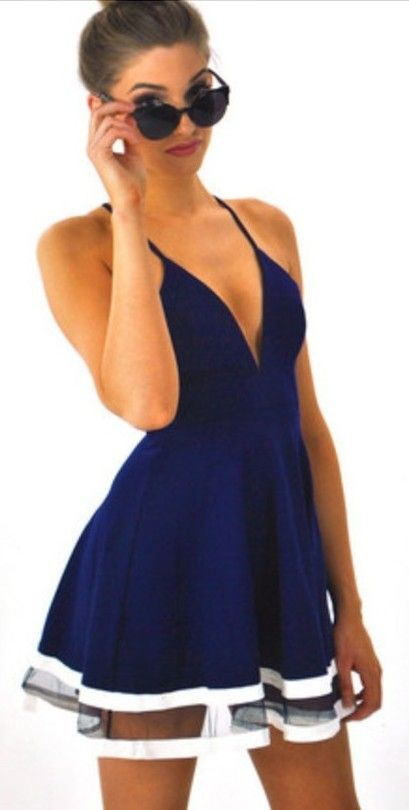 Neck condole belt splicing dress