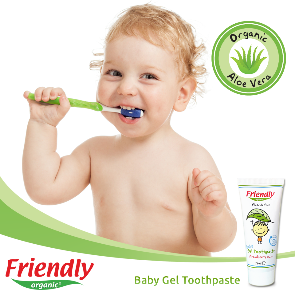 friendly organic baby gel toothpaste contains organic aloe vera which helps soothe teeth and gums