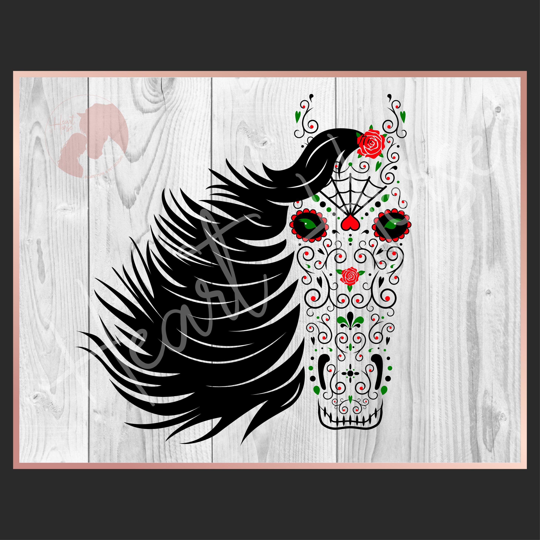 Sugar skull horse head, halloween horse, gothic horse art ...