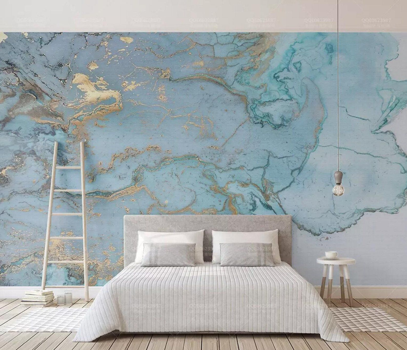 3d Abstract Blue Gold Ink Smudge Wallpaperremovable Self