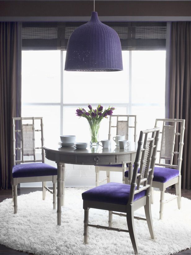 Regal And Masculine Tones Interiors By Color Purple Dining Room Chic Dining Room Grey Dining Room