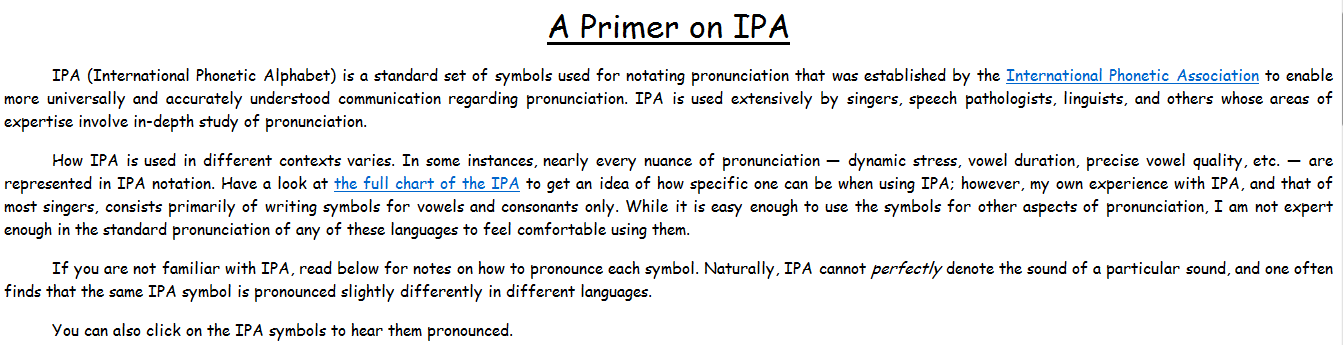 A Wonderful Concise Ipa Chart For Singers And Teachers  Vocal