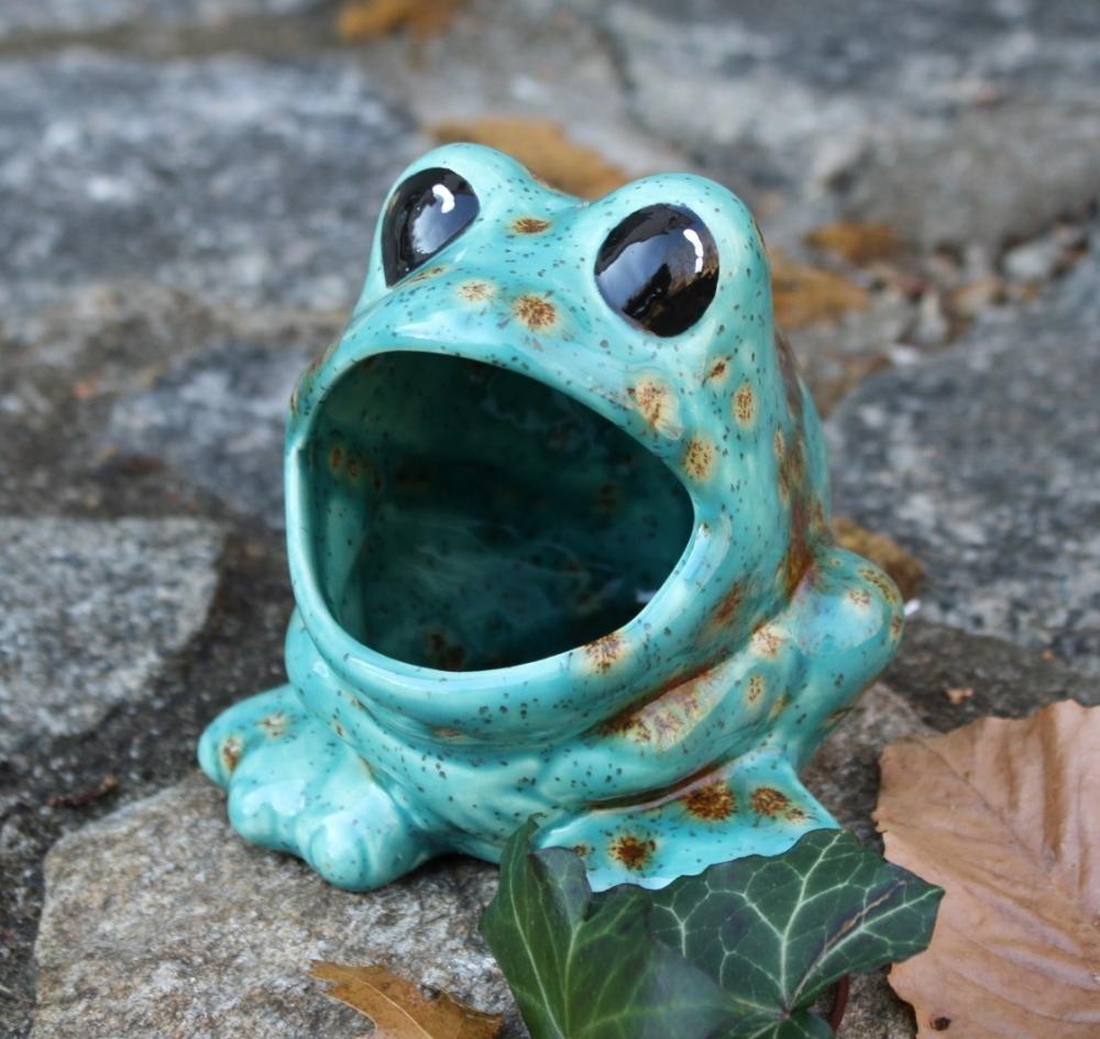 Ceramic Frog Sponge Holder - Teal Blue and | Cute Handmade ...