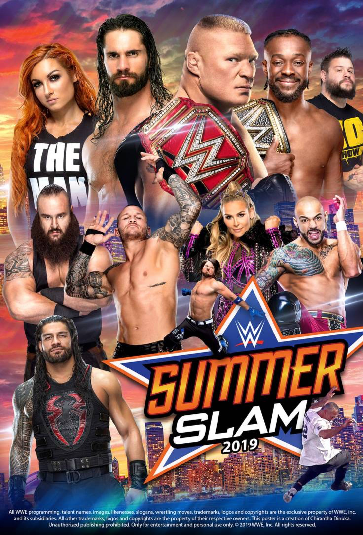 Wwe Summerslam 2019 Poster By Chirantha On Deviantart Wwe Summerslam Summerslam Wwe