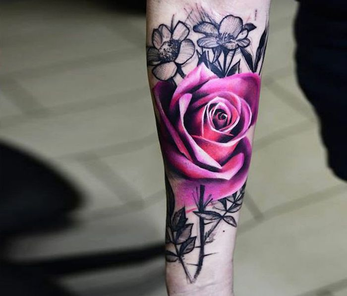 tattoo blumen realistische rose rose am unterarm arm t towieren tattoos pinterest. Black Bedroom Furniture Sets. Home Design Ideas