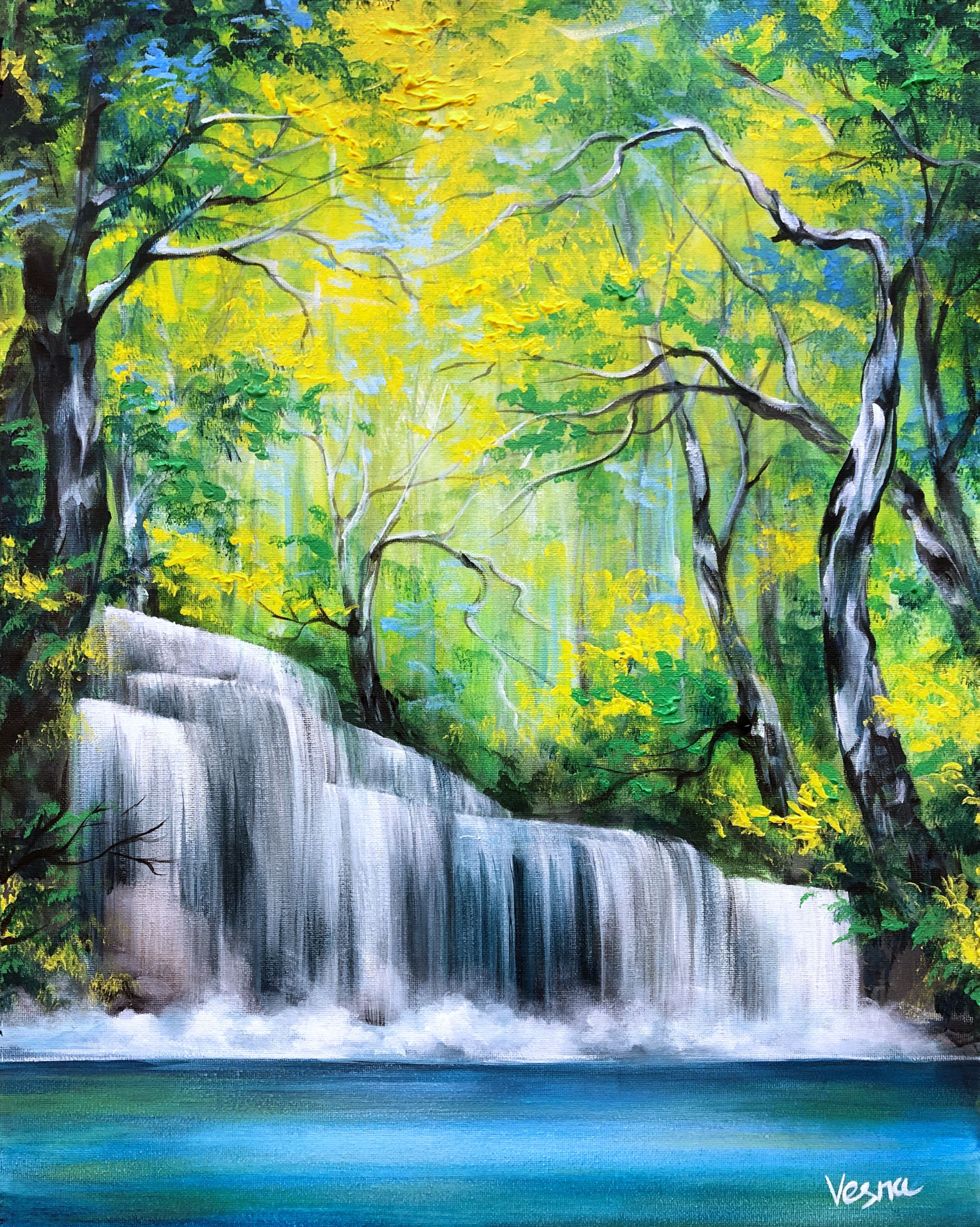 Full Of Life 20 X16 X0 5 Acrylic On Canvas Https Etsy Me 2z0phxc Waterfall Paintings Landscape Paintings Acrylic Landscape Art