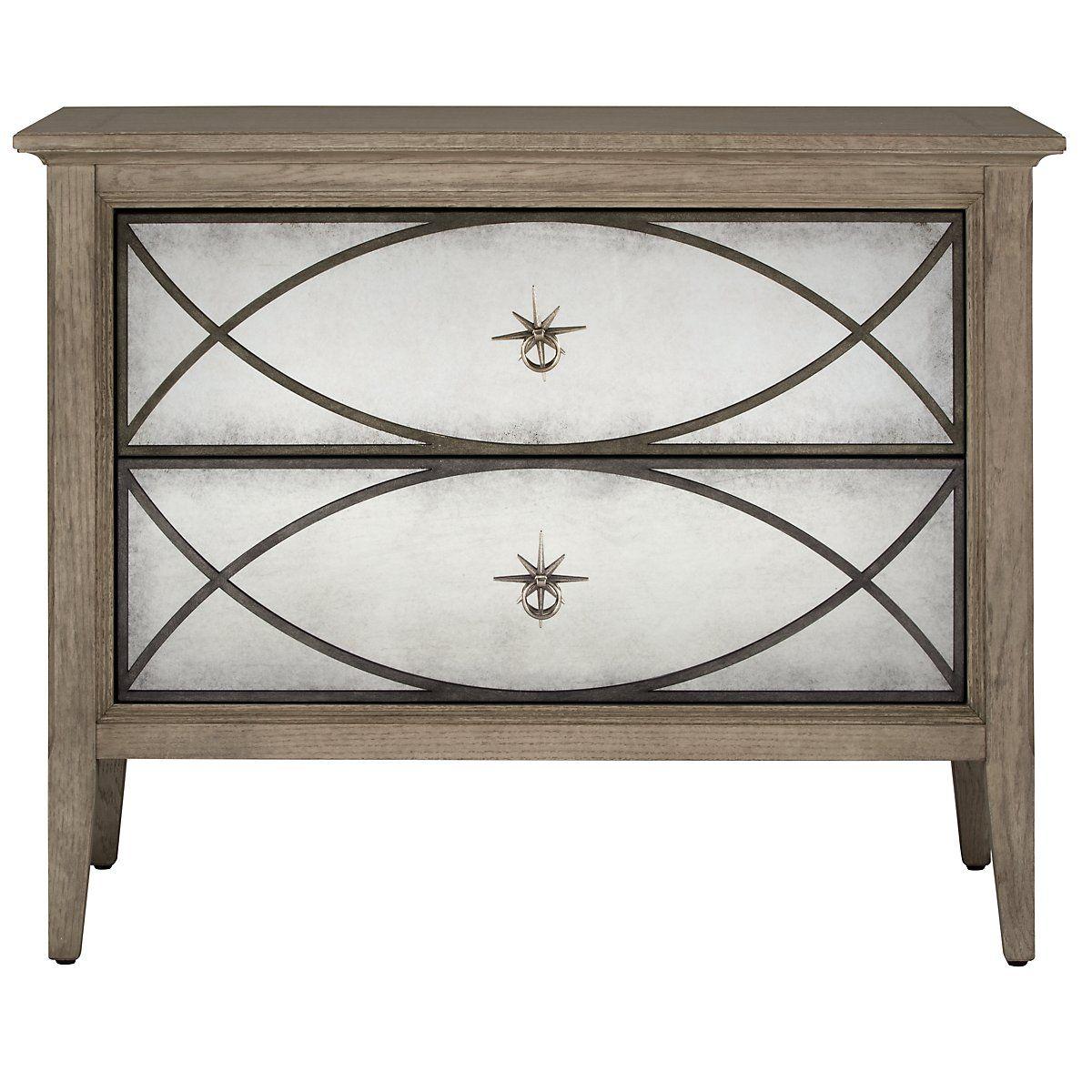 Marquesa Gray Mirrored Nightstand Bedroom Furniture Furniture
