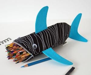 $35.00 Shark Bag  Zipper Pencil Case by minnebites