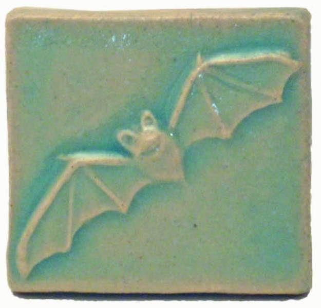 Bat 2x2 Ceramic Handmade Tile Pacific Blue Glaze