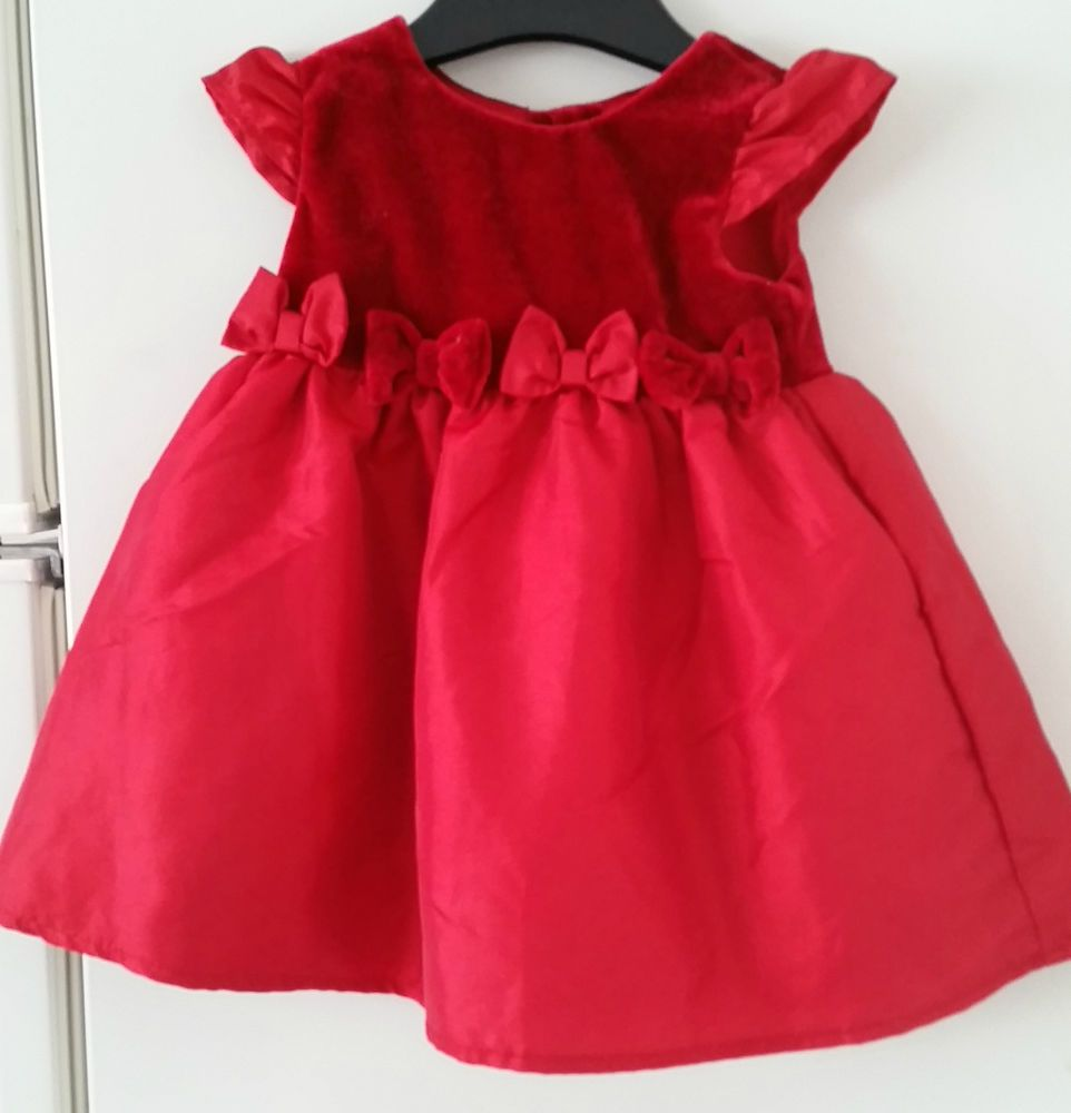 BABY GIRL DRESS red dress layered party frock 6-6 months velvet
