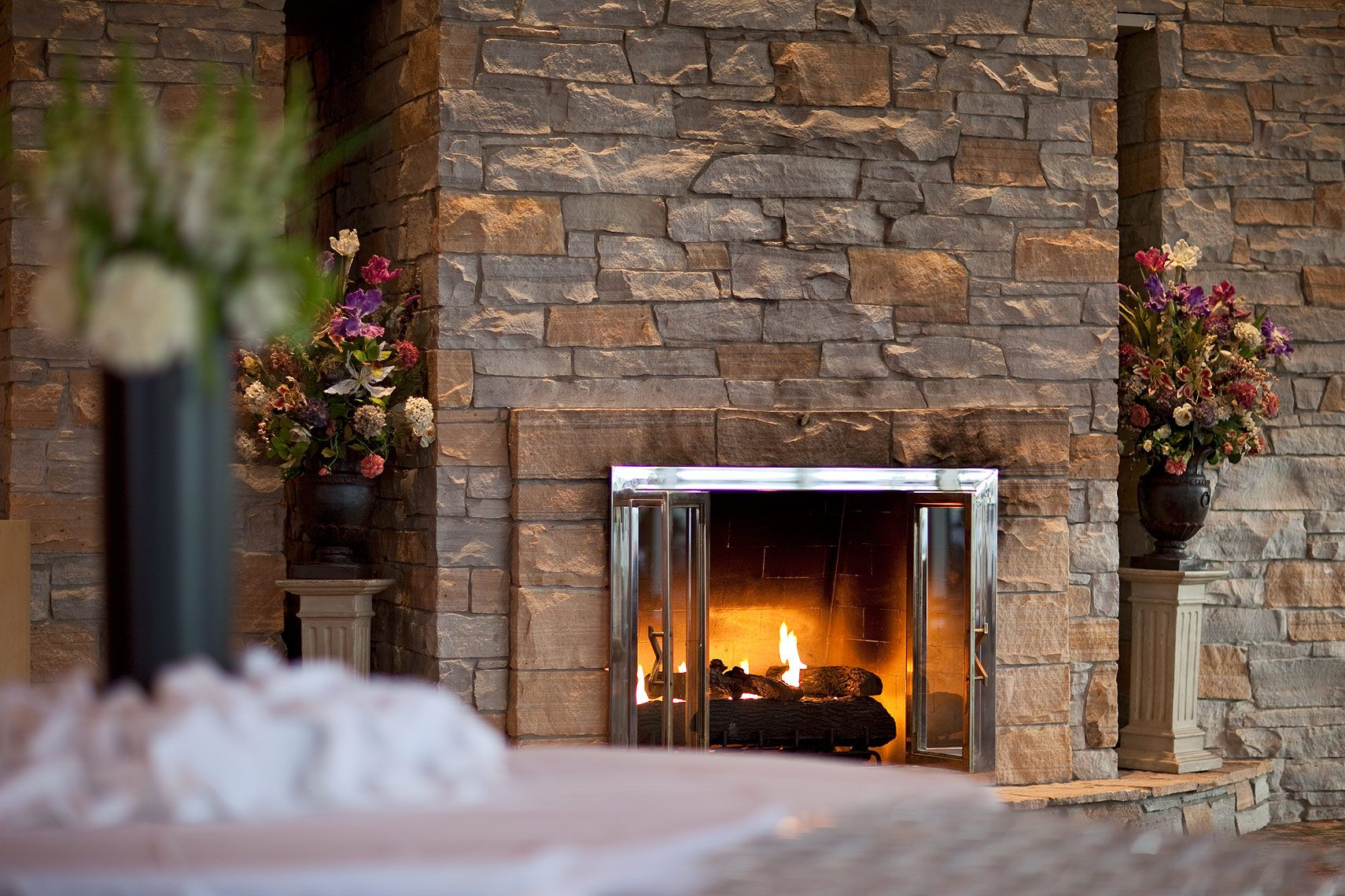 double sided fireplace in main gullane lionhead golf country