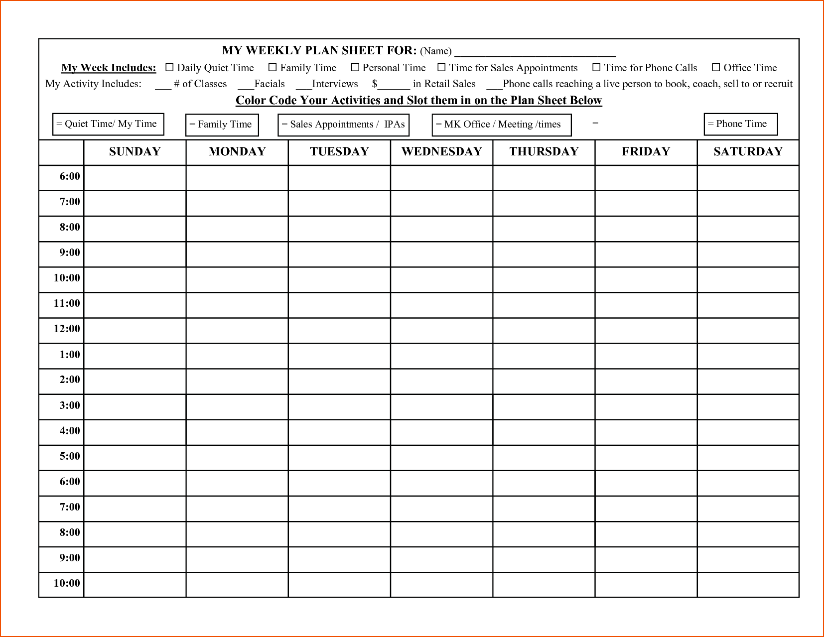 Weekly Calendar To The Half Hour