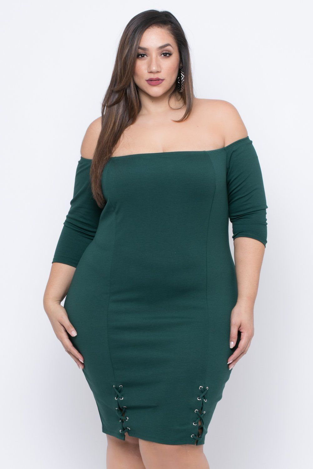 Green lace up dress  Plus Size Malory Lace Up Dress  Green  Neckline and Stretches