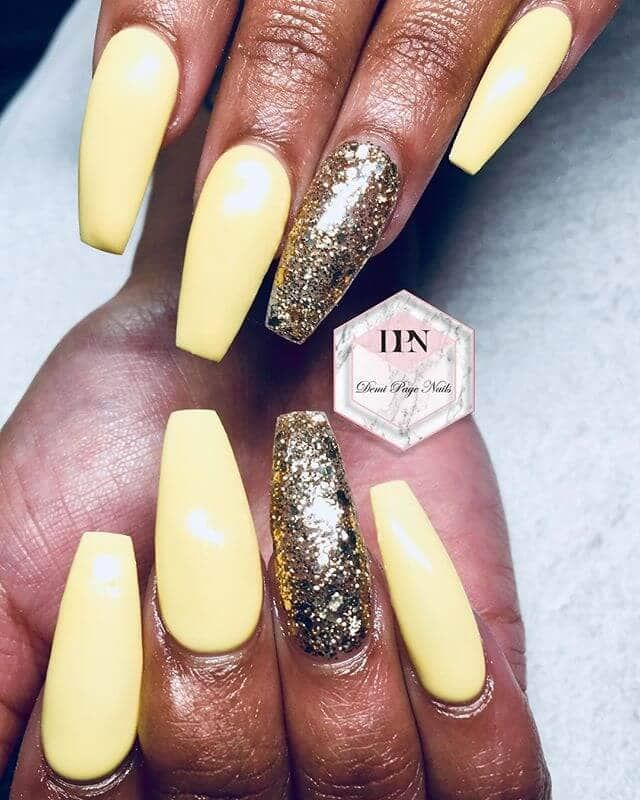 50 Gorgeous Yellow Acrylic Nails To Spice Up Your Fashion Lemon Nails Yellow Nails Nails