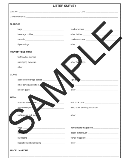 Litter Survey | Activity Sheets | Canadian Teacher Magazine ...