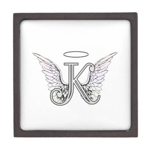Letter K Initial Monogram With Angel Wings Halo Artwork Alphabet