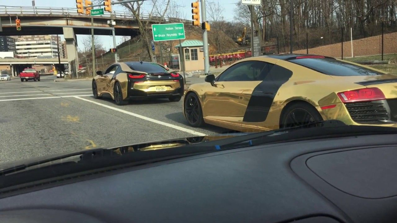 Bmw I8 Gold Vs Audi Gold R8 Gold Youtube Cars Pinterest