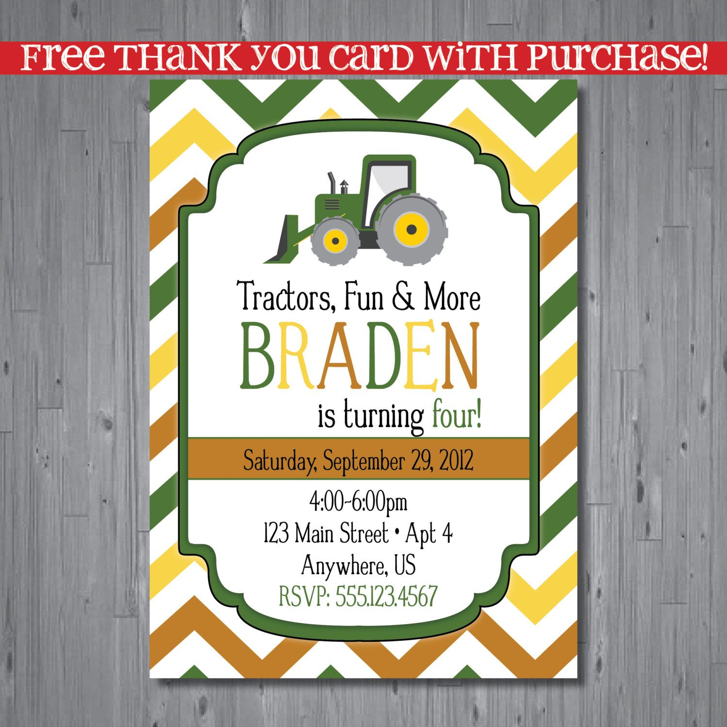 tractor+Birthday+Invitation+first+birthday+by+AbbyReeseDesign,+$ ...