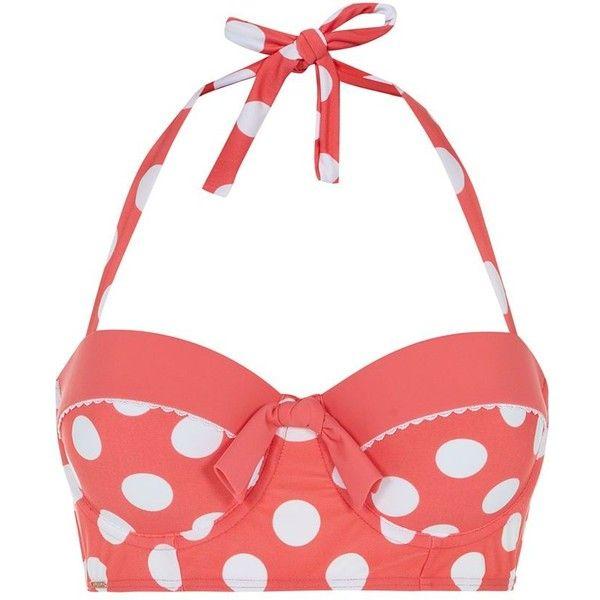 367d69f742 Kelly Brook Pink Contrast Trim Polka Dot Longline Bikini Top ( 17) ❤ liked  on Polyvore featuring swimwear