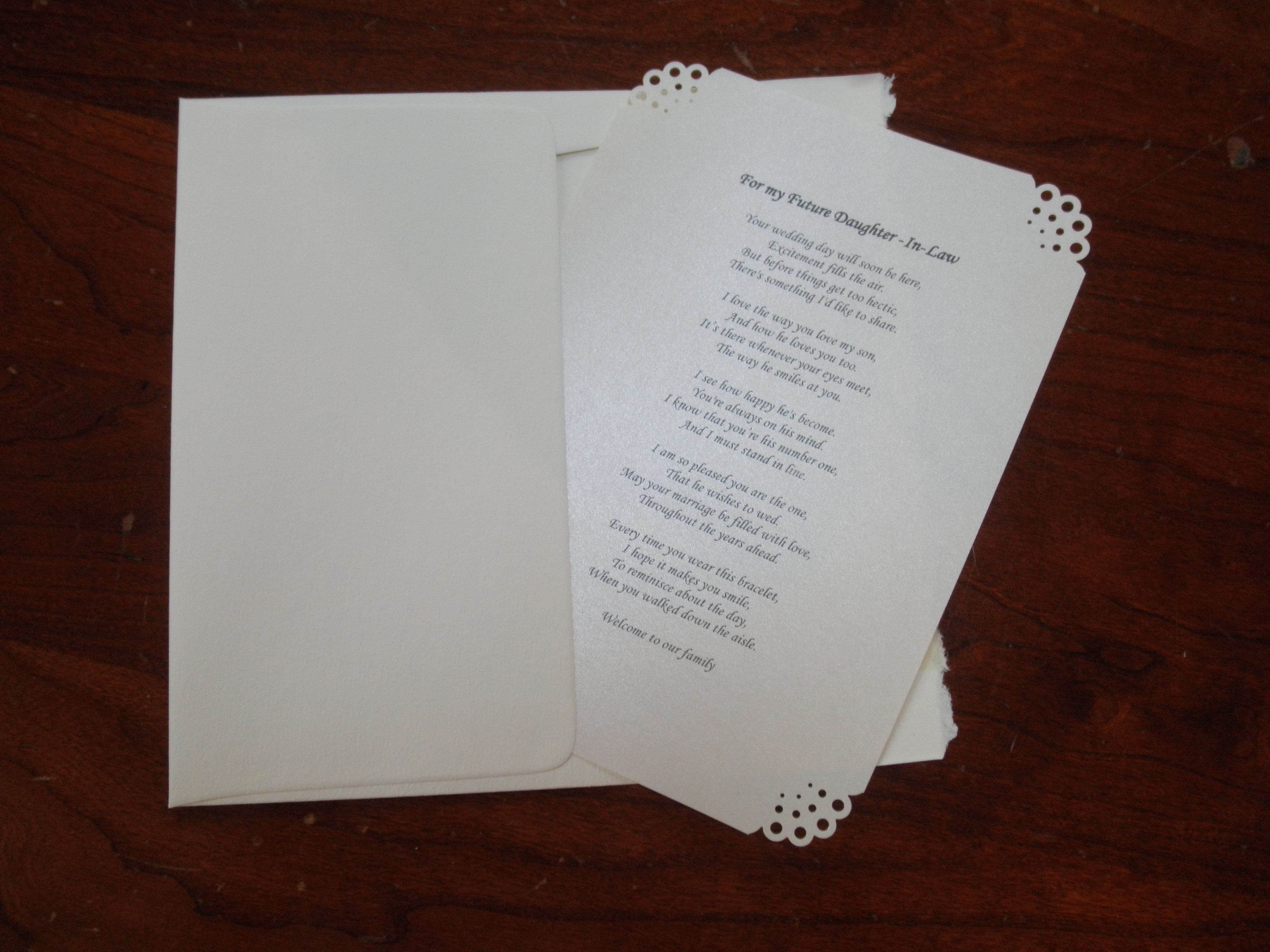 The Poem My Gift For My Future Daughter In Law On Her Wedding