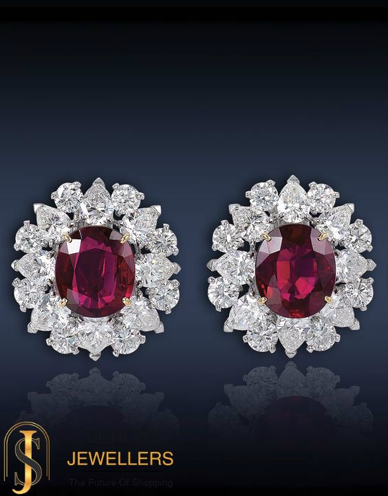 Step out in style with this stunning pair of ruby studded diamond earrings
