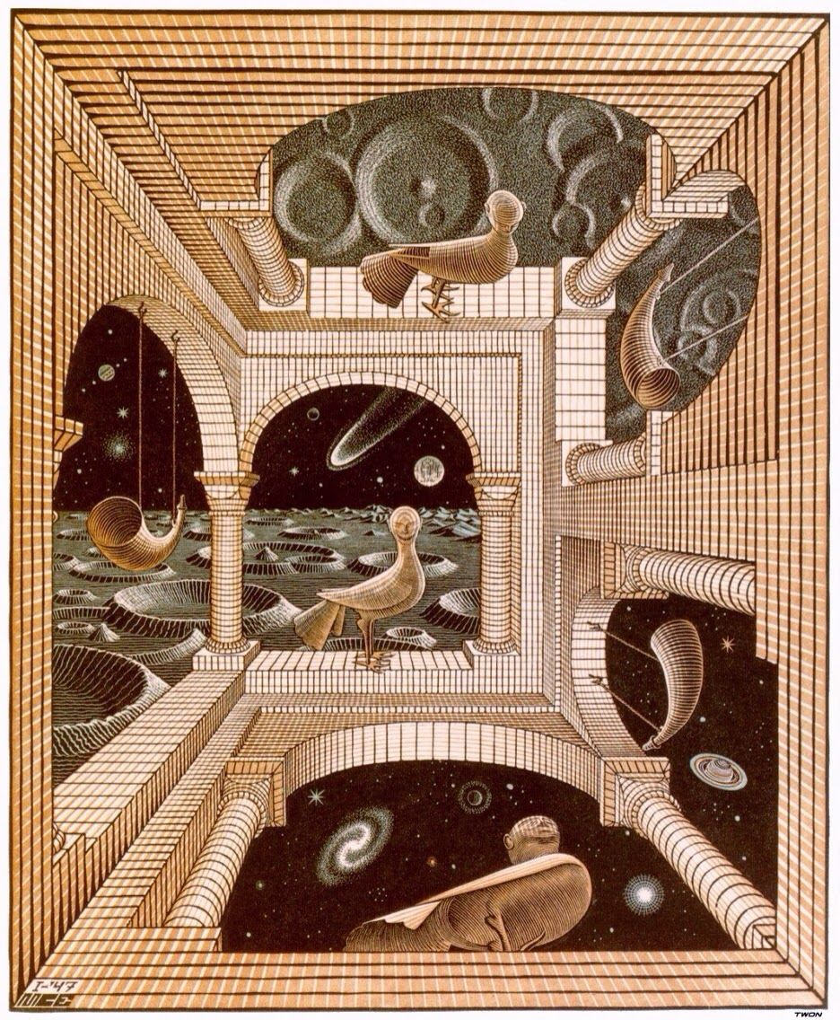 e8c54bc14 ANOTHER WORLD MC ESCHER The Helpful Art Teacher: Draw a Surrealistic Room  in One Point Perspective
