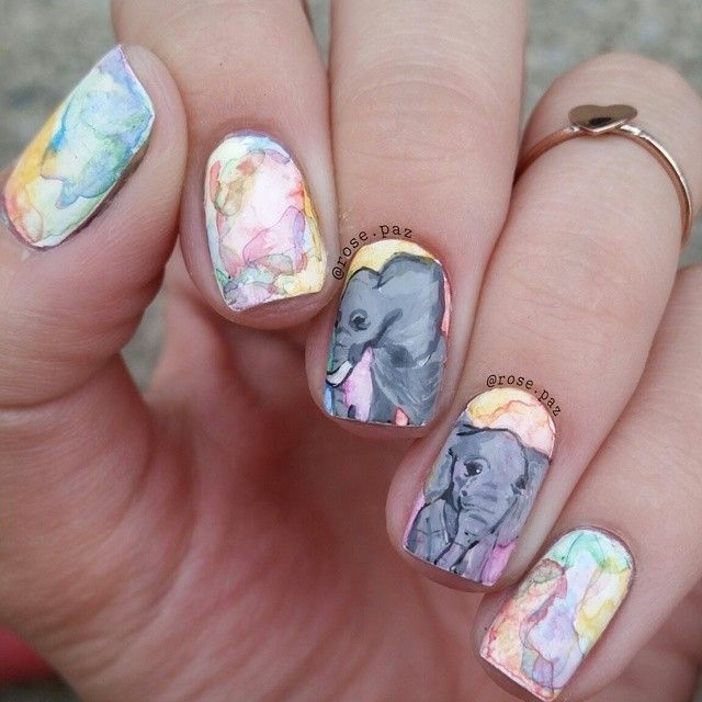 watercolor nails with elephant