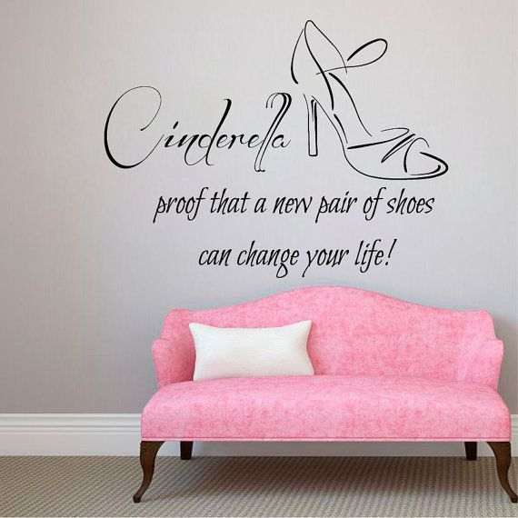 Cinderella Wall Decal Quote Girl Shoes Vinyl by AmazingDecalsArt ...