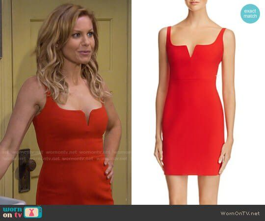 70874610f4 DJ s red notched mini dress on Fuller House. Outfit Details  https