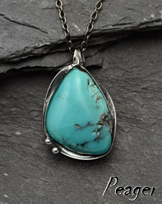 Natural mexican turquoise pendantstatement pendantblue stone natural mexican turquoise pendantstatement pendantblue stoneturquoise with pyritewomen aloadofball Choice Image