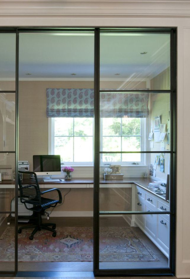 Steel And Glass Wall Home Office Interior Office That Still Lets