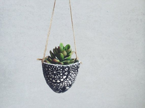 Ceramic Lace Hanging Planter   Ceramics And Pottery   Garden Gifts For Her  On Etsy,
