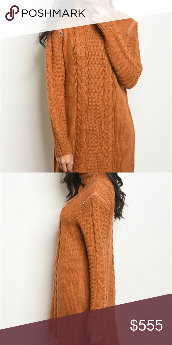 e3744357b622 KNIT SWEATER DRESS Camel colored cable knit