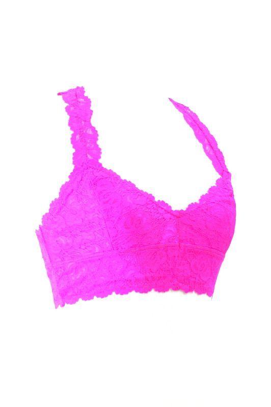 150b053082 Racerback Lace Bralette - Neon Pink