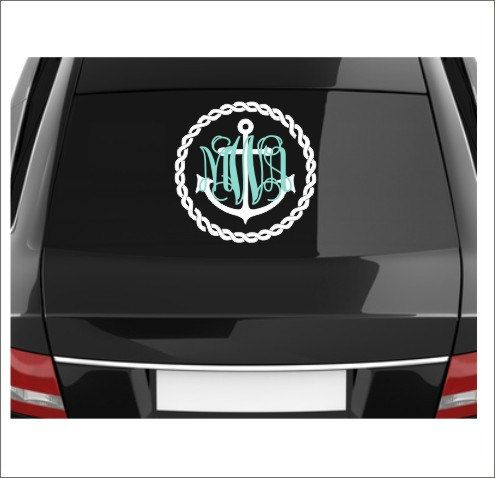 Anchor monogram decal anchor monogram rope border decal car decal vinyl decal personalized decal nautical decal car window decal large car