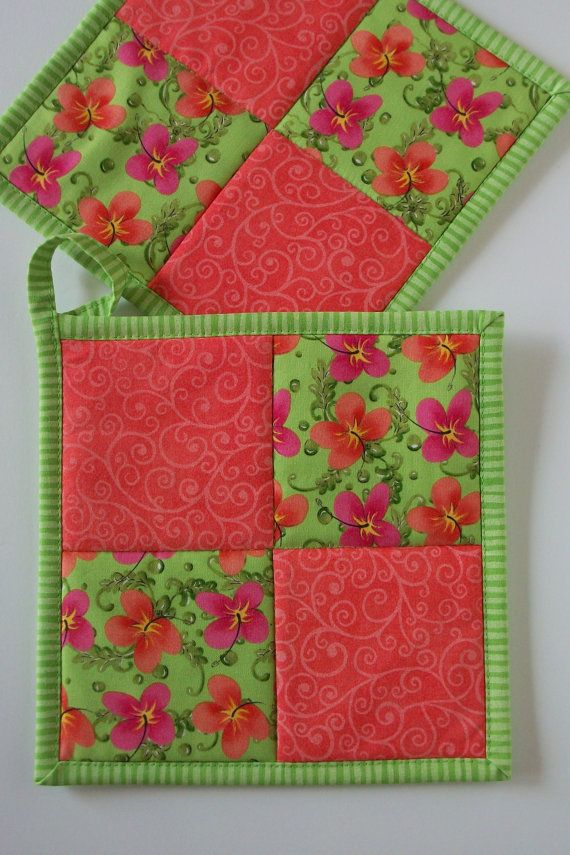 Tropical Flower Pot Holders, Lime Green and Coral Fabric Hot Pads ...