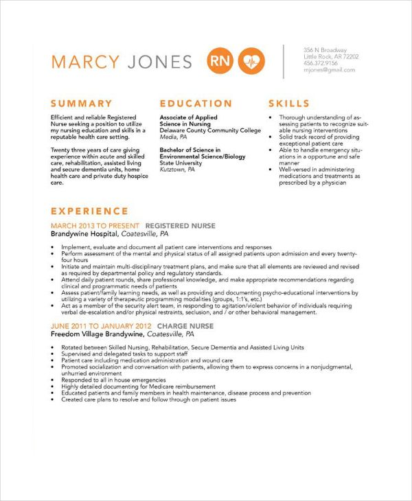 Er Rn Resume Magnificent Experience Nurse Resume In Psd  12 Nursing Resume Template  W .