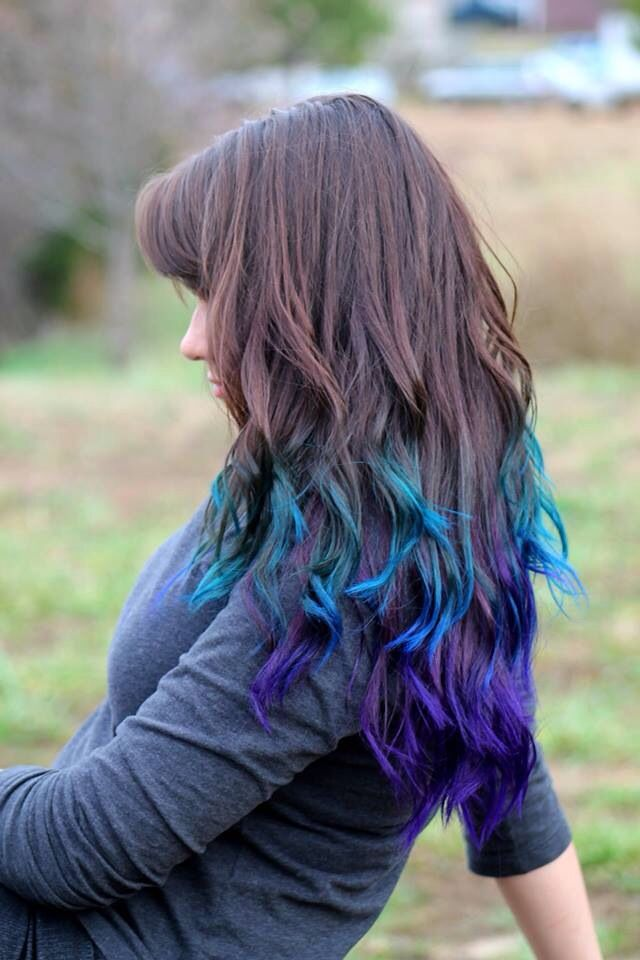 Blue And Purple Ombre Purple Ombre Hair Purple Hair Tips Hair Tips Dyed Blue