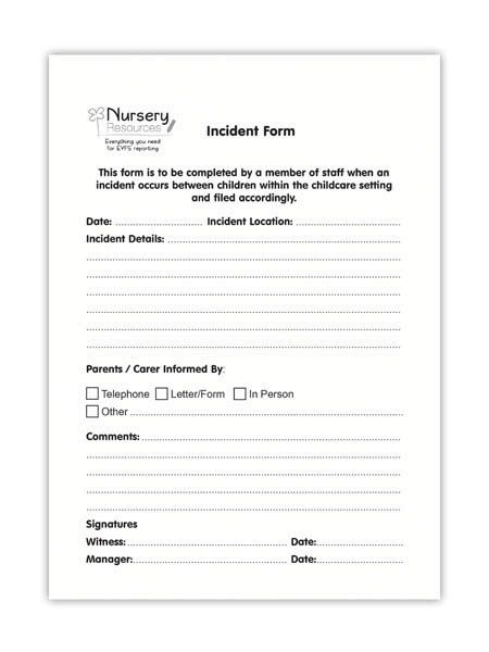 Incident Forms MDO Office Pinterest Church nursery, Nursery - daycare form