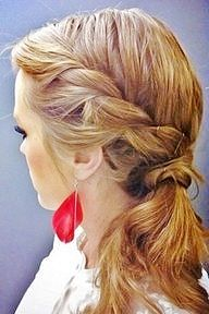 Side pony with a partial braid bridesmaids hair--what about this hair?? or are you still thinking of doing a side bun???